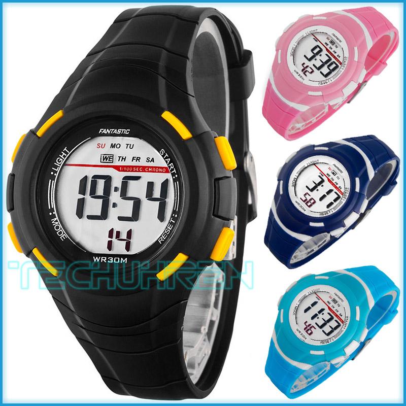 kleine digitale fantastic armbanduhr f r damen und kinder stoppuhr alarm licht ebay. Black Bedroom Furniture Sets. Home Design Ideas