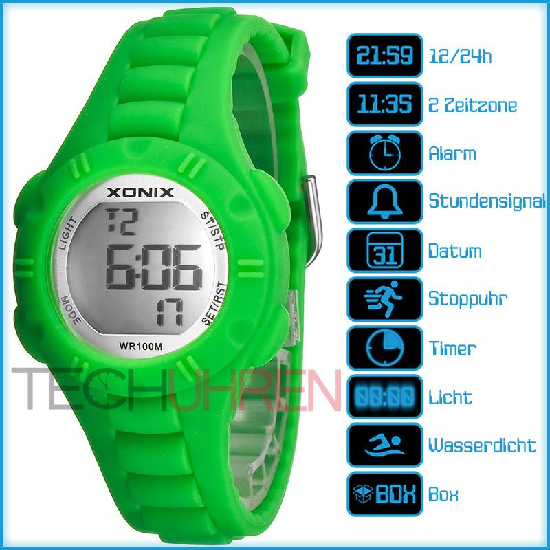 Armbanduhr kinder digital  Sportliche XONIX Armbanduhr für Damen und Kinder WR100m Alarm ...