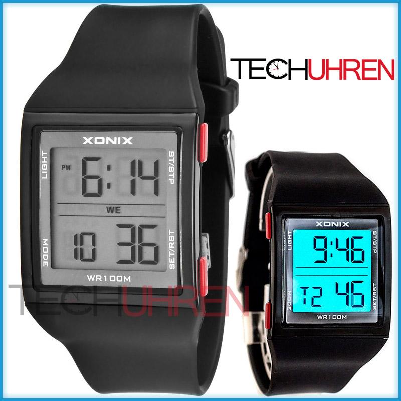 digitale xonix herren jungen armbanduhr wr100m timer alarm stoppuhr. Black Bedroom Furniture Sets. Home Design Ideas