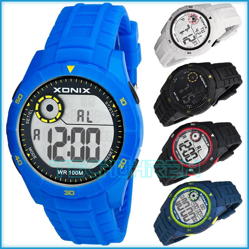 digitale sportliche xonix armbanduhr stoppuhr mit 100 zwischenzeiten wr100m herren. Black Bedroom Furniture Sets. Home Design Ideas